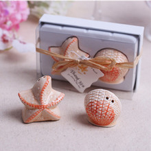 100 Boxes Starfish Shell Salt Pepper Ceramic Shakers Wedding decoration Party Holiday Favor Supplies