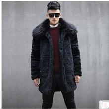 Male Long Section Casual Faux Mink Fur Overcoats Warm Man-Made Fur Jackets Chaqueta Hombre Mens Fur Coats Casaco Masculino Cj59
