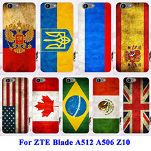 Soft TPU Hard Plastic Cell Phone Cases Covers For ZTE Blade A512 A506 Z10 Shell Cover Skin Russia UK Brazil Flag Housing Bag