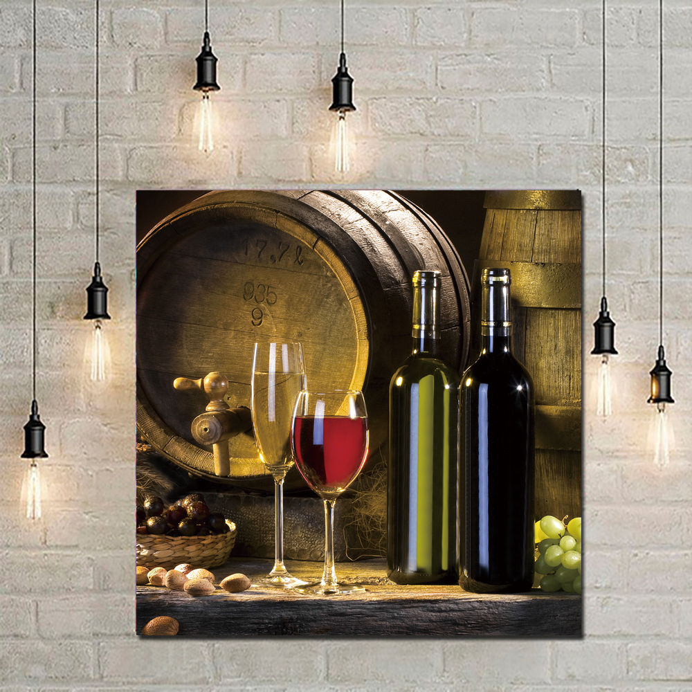 Red Wine Fruit Grape Printed Still Life Canvas Painting Paintings Picture Crafts Wallpapers Room Hotel Decor 40x40cm No Frame