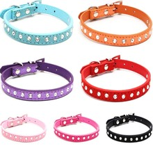 Puppy Dogs Collar Bell Rhinestone PU Leather Cat Supply Collars Pet Neck Strap(China)