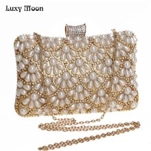 Luxy Moon Evening Bags Pearls Clutches Ladies Day Clutch Purses Female Beaded Bag With Chain wedding mini Shoulder bag ZD661