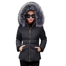 Winter Female Jacket 2017 Winter Coat Women Fake Fur Collar Warm Woman Parka Outerwear Down jacket Winter Jacket Female Coat(China)