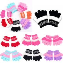 Baby Mittens Winter Gloves Children Gloves Children Cotton Striped Autumn Winter Warm Gloves Girl Finger Gloves 2016 New