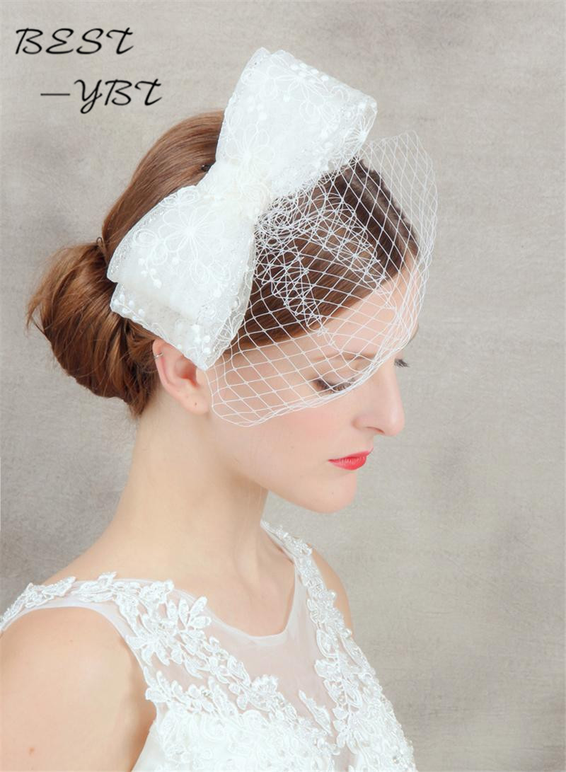 Bow hair hair clip cage veil headdress Wedding Hat headdress and feather headdress bride hairstyle accessories chapeu<br><br>Aliexpress