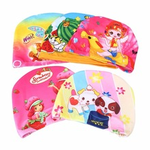 Lovely Printed Children Swimming Cap Waterproof Bathing Stretch Fabric Hat Protect Ears for long hair Kids Color Random