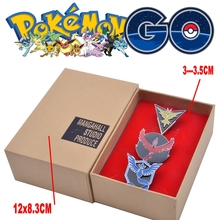 Mew Pokemon GO Team Valor Mystic Instinct Badges Metal Pins+Box Cosplay Collection Box Gift For Kids Adult(China)