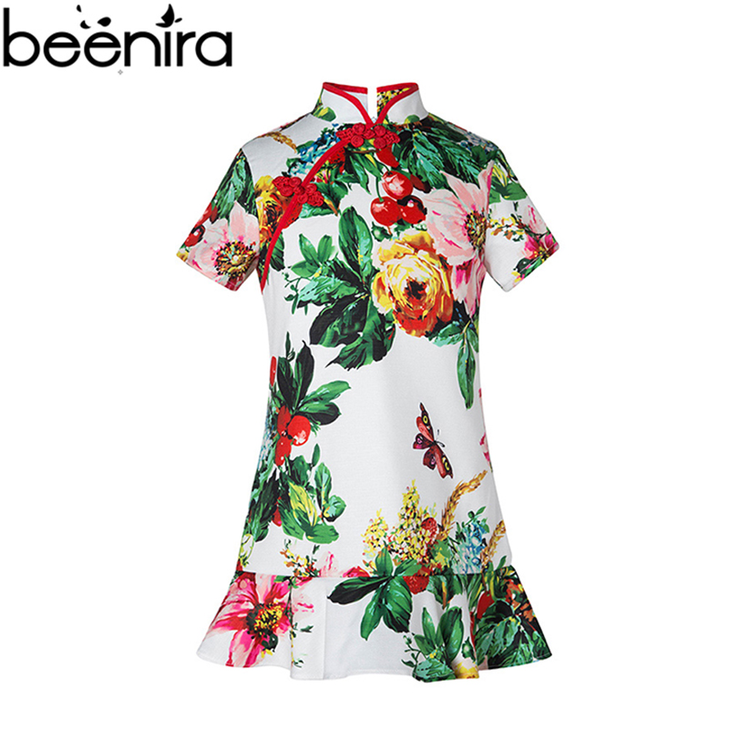 2017 Summer Girls Dresses Children Cheongsam Style Dresses Chinese Style Baby Lotus Leaf Hem Clothing Hight Quality for party<br>