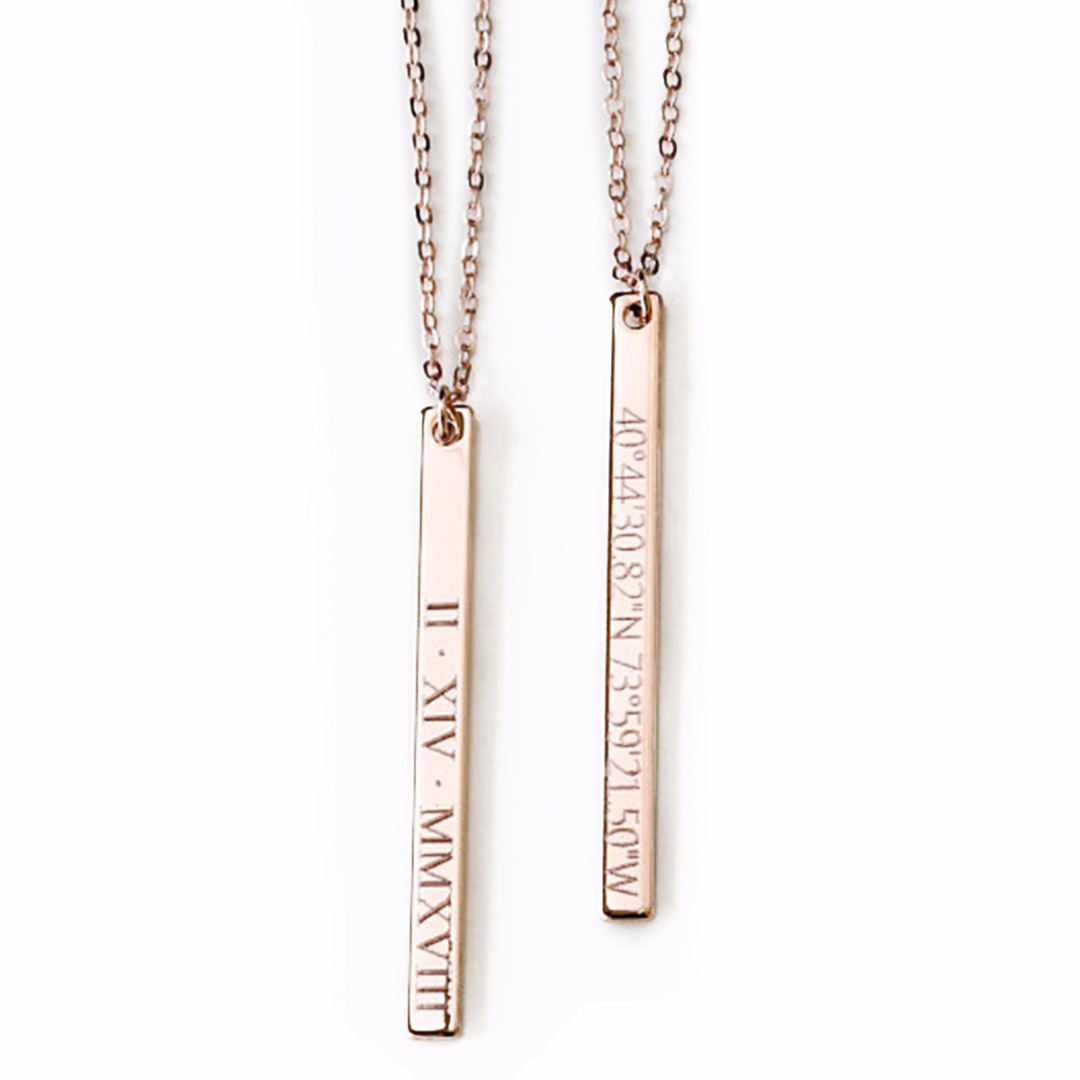 Personalized Necklace Gold Custom Engraved Name Date Bar Pendant Necklace Collier Femme Collar Fashion Jewelry Shellhard