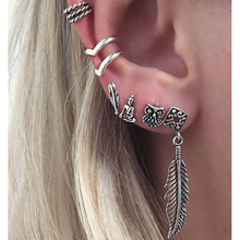 6pc Vintage Silver Color Tribal Totem Hoop Earring set Handmade Punk Ethnic Owl Feather Endless Circle Earring For Women Jewelry(China)