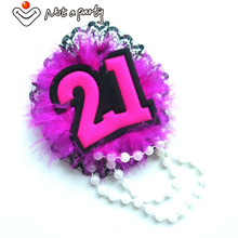 2016 Fashion pearl and feather brooch 21 design birthday souvenir event party for girls hens night out happy birthday(China)