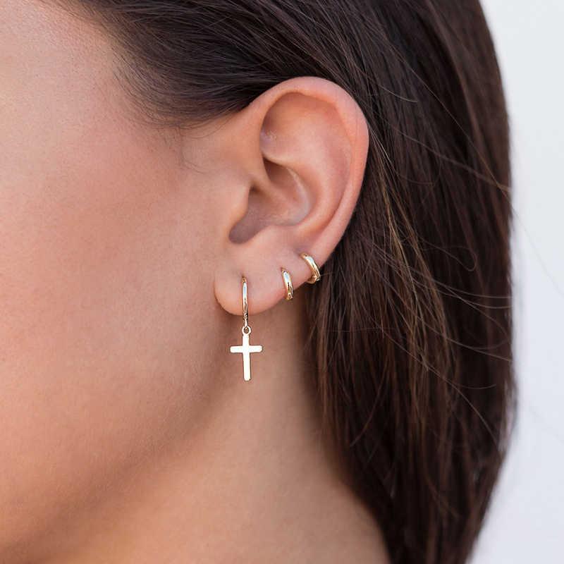 925 Sterling Silver Unsex Punk Earrings Pendant Cross Huggie Hoop