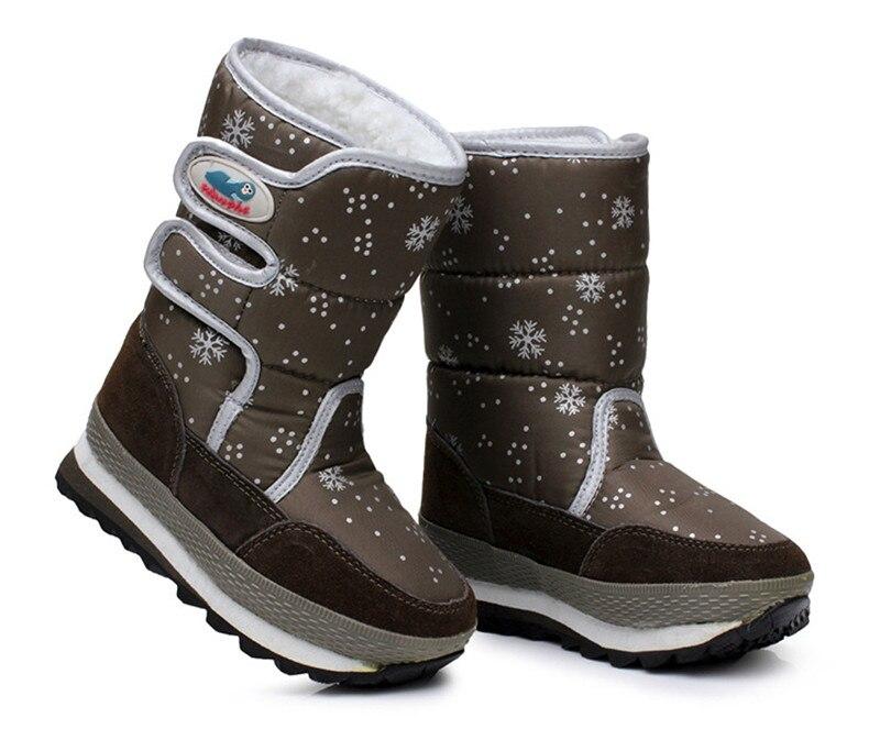 Canvas Children Snow Boots Boys Girls Winter Warm Shoes Plush Waterproof Fur Lined Kids High Boots Brown Chaussure Rainboots<br><br>Aliexpress