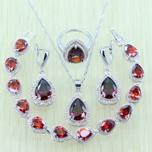 Reginababy Drop Red created Garnet Jewelry Sets For Women Zircon Silver color Bracelets/Earrings/Ring/Necklace/Pendant
