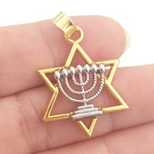 BULK 30pcs Alloy Metal Rhodium Plated Star of David with Menorah Charms Jewish Judaism Hebrew Pendant DIY Jewelry 20*26mm 2.1g