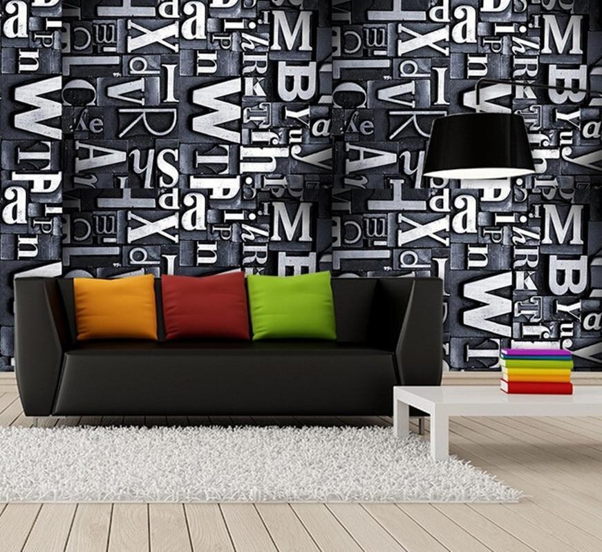 Custom 3D large mural,retro metal texture stereo alphabet ,3D papel de parede for living room sofa TV wall bedroom wallpaper PVC<br>