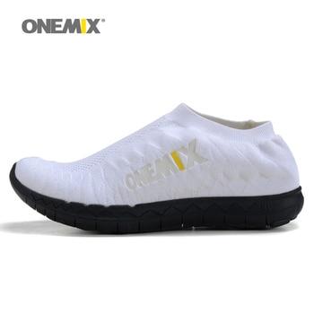 Onemix zapatillas para hombre transpirable zapatos de las mujeres unisex tejer superior trotar zapatos de deporte zapatillas de deporte de hombres zapatos de interior portátil