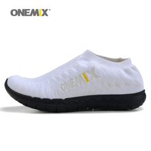 Onemix men's running shoes breathable women shoes unisex weaving upper jogging shoes sport sneakers portable indoor men shoes(China)