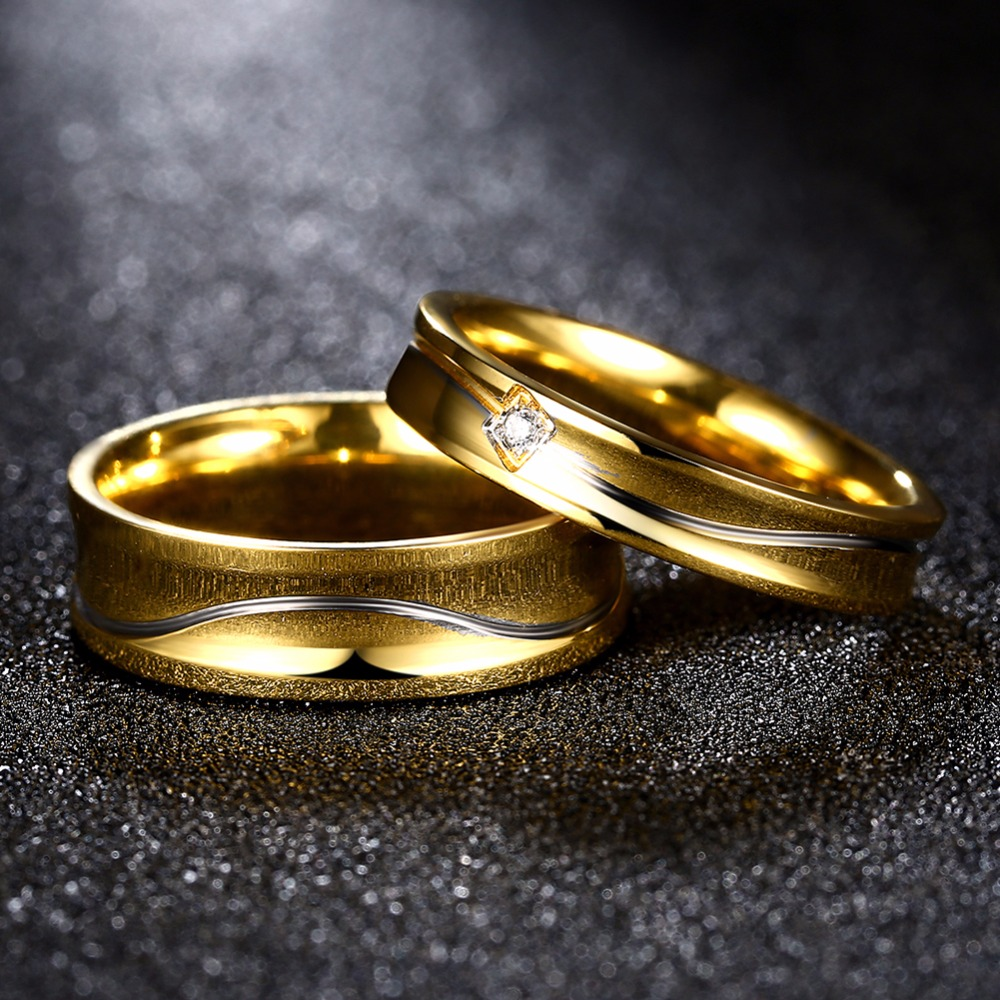 Engraved Name Couple Ring Ladies Jewelry Gold colour Stainless Steel Jewellery Titanium Men Wedding Rings For Lovers(China)