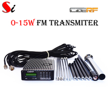 CZE-15b 15W stereo PLL FM transmitter broadcast radio station + GP2 outdoor antenna + Power supply + MIC Kit(Hong Kong,China)