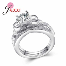 JEXXI Women Jewelry Round Cut White Nice 925 Sterling Silver Wedding Band Ring Size 6 7 8 9 Wholesale Dropship Bague Free(China)