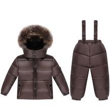 -30 Russian winter Kids Clothes baby Boys Girls Winter Coat Children Warm Jackets Snowsuit Outerwear +Romper Clothing Set