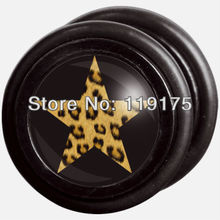 Free Shipping 50pcs/lot Yellow Leopard Star Retailer Black UV Piercing Jewelry Fake Ear Plugs Piercing Studs Body Jewelry