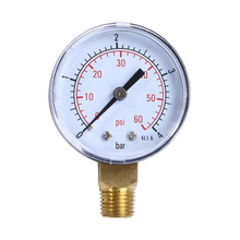 "Pool Spa Filter Water Air Oil Vacuum Dry Utility Pressure Gauge 60PSI Side Mount 1/4"" Inch Pipe Thread"