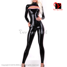 Buy Sexy Latex Catsuit Open front back crotch zipper Rubber Black Long sleeves Jumpsuit Unitard overall LT-119