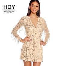 HDY Haoduoyi Women Dress Sexy Sequin Golden Deep V Neck Party Female Mini Dress Back Perspective Long Sleeve Club Dress Vestidos(China)