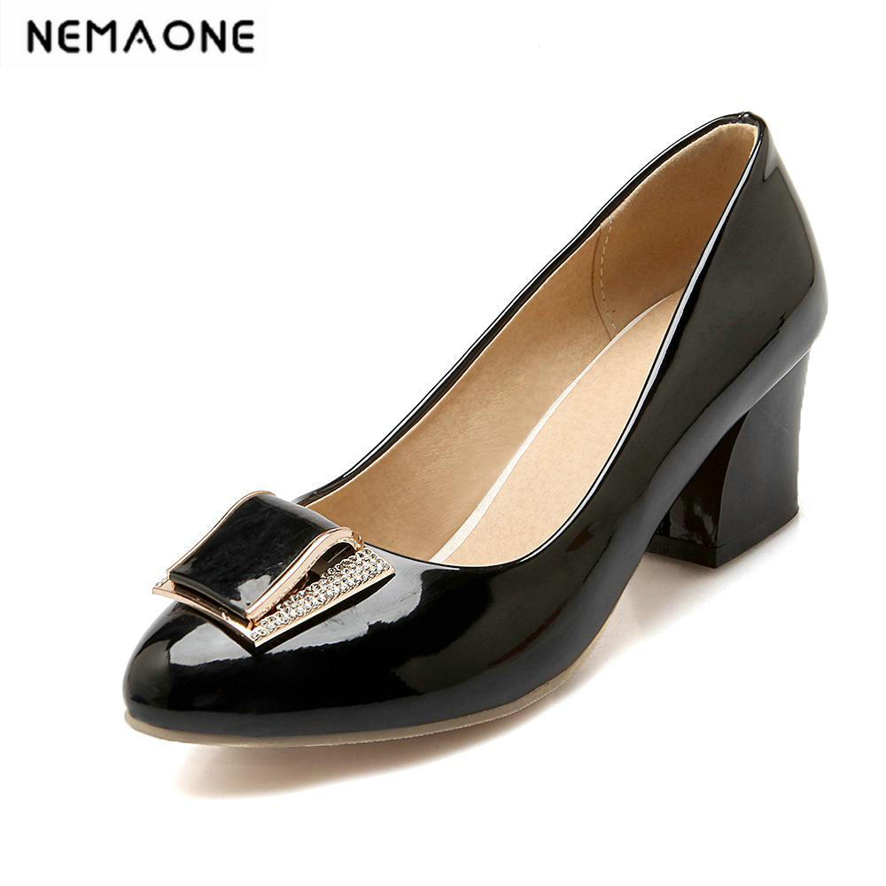 New Elegant Womens Pumps Fashion rouned Toe Concise Design low hoof Heel Shoes for Woman<br>