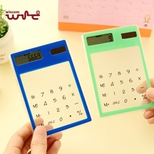 Portable Slim Solar Energy Clear Scientific Calculator Student School Office Exam Supplies Birthday Gift Random Color EM88(China)