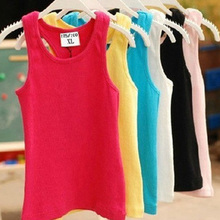 Children T Shirts Summer Style Boys Girls Clothes Vest Cotton Casual Sleeveless kids Candy Colors Sport Vests Out Wear(China)
