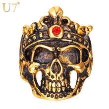U7 Skull Ring For Men Goth Gothic Skeleton Stainless Steel Gold Color Punk Men Jewelry Gift Bands Ring Halloween R398(China)