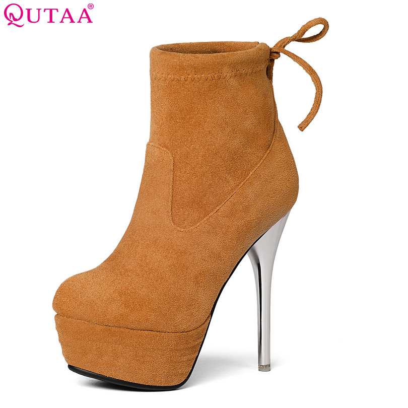 QUTAA 2017 Winter Brown Women Shoes Ankle Boots Elastic band Thin High Heel Women Party Shoes Black Winter Warm Size 34-43<br>