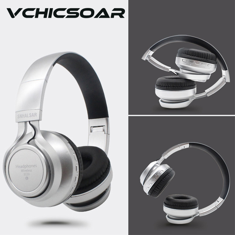 VCHICSOAR Bluetooth Headphones Wireless Foldable Portable Headsets with Mic HiFi Support TF Card FM Radio for iPhone Samsung<br><br>Aliexpress