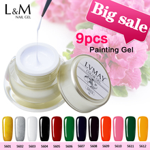 Recommend 9 Pcs Lvmay Painting Gel Nails Paint Super Jar Full Excellent Ink Gel Duration Long Wonderful 12 Color Well Printed