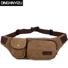 DINGXINYIZU Brand Vintage Canvas Waist Packs Multifunctional Men Belt Bag Casual Small Capacity Portable Men and Women Waist Bag