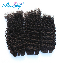 Peruvian virgin hair kinky curly ali sky  hair products human hair weaves with3pcs per lot natural black deep culry hair weaves
