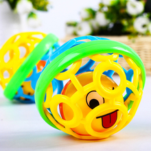 0-12 Months Baby Creative Colorful Ball Toy Rattles Develop Intelligence Plastic Hand Bell Rattle Christmas Birthday Gift Toys(China)
