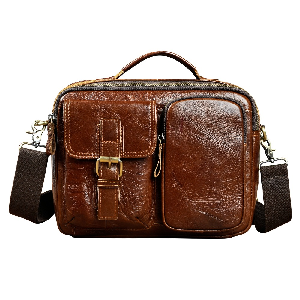 Original Leather Male Multifunction Fashion Casual Design Satchel Crossbody Shoulder Messenger bag Tote Tablet Pouch For Men 036<br>