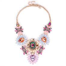 Fashion Women 2016 ZA Necklace Pendant Collier Femme Collar Choker Rhinestone Flower Maxi Statement Jewelry Crystal Accesory
