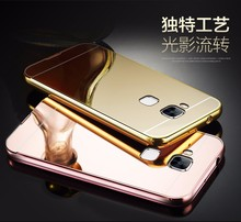 "For asus zenfone 3 max zc520tl (5.2"") / ZC553KL(5.5"") Luxury Gold Plating Aluminum Metal Frame+Mirror Acrylic Back Case"