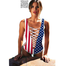 Lace Up American Flag Swimsuit Ladies One Piece Swimwear Women Monokini Cut Out Bikini Hollow Out USA Plunge Sexy Bathing Suit(China)