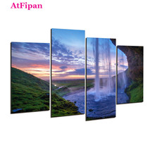 AtFipan Unframed Waterfall Definition Painting Canvas Wall Spray Painting Modern Decor Canvas Art Work Prints On Home Posters