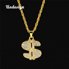 Uodesign Necklace Hip Hop Rap Singer Gold Color US Dollar Pendant Necklace Chain Accessories Hiphop Jewelry Money(China)