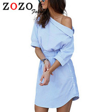 Falacs zozo 2016 Women Fashion Loose Blue Striped Shirt Dress Sexy Side Half Sleeve Waistband Casual Mini Asymmetrical Dresses