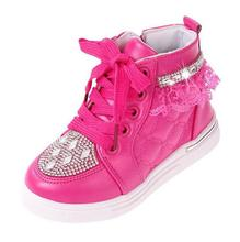 elegant cute kid girl fashion sneaker shoes crystal lace side zipper shoes for 2-6yrs girls female child outdoor shoes hot sale
