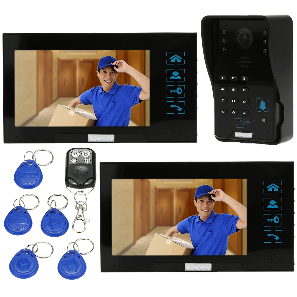 "KKmoon Video Door Phone Intercome Doorbell 2pcs 7"" Color TFT LCD Monitors Touch Button Waterproof Outrdoor 1000TVL IR Camera(China (Mainland))"