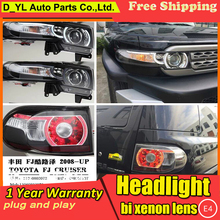 D-YL Car Styling Fj Cruiser Headlights 2011-2015 LED Headlight DRL Bi Xenon Lens High Low Beam Parking Fog Lamp - D_YL Store store
